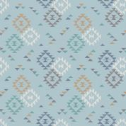 Lewis & Irene To Catch a Dream - 5028 - Aztec Style Geometric Traingle Print on Duckegg Blue - A173.2 - Cotton Fabric